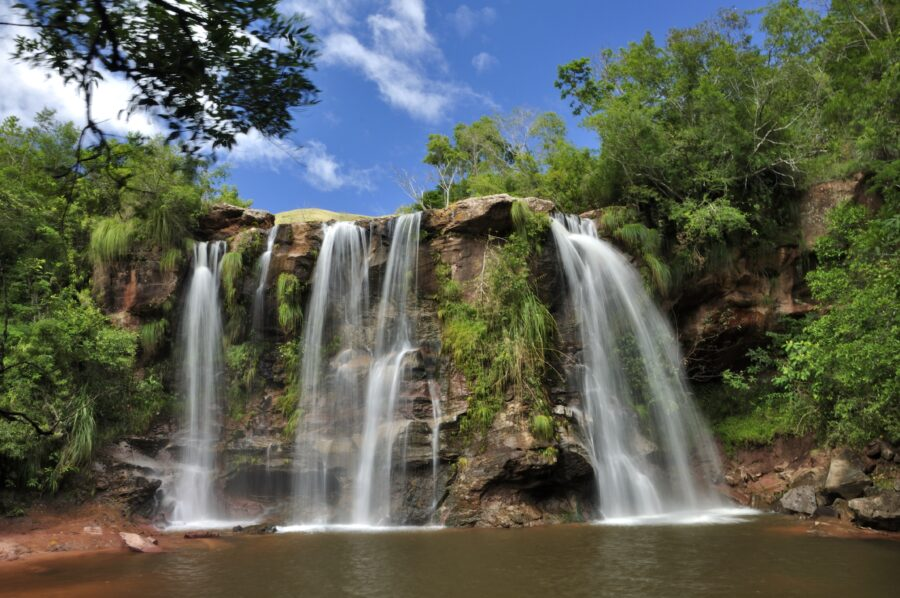 On voit une chute d'eau qui s'écoule dans un petit lac, elle est entourée d'arbres.