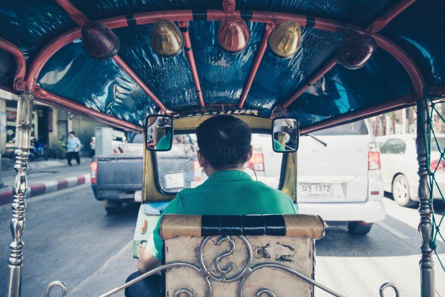 Tuktuk rickshaw driver in bangkok thailand. Driver guide independant