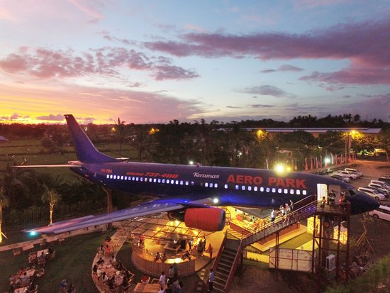 un avion keramas aero park à bali Nuit avec avion éclairé transofmé en restaurant